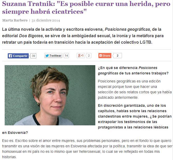 Entrevista a Suzana Tratnik en Cáscara amarga